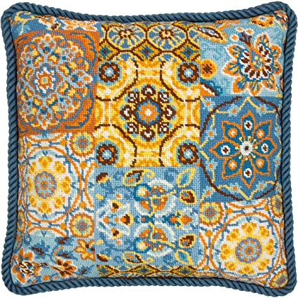 Amazon Dimensions Patterns On Blue Needlepoint Kit Stitched In Magnificent Needlepoint Patterns