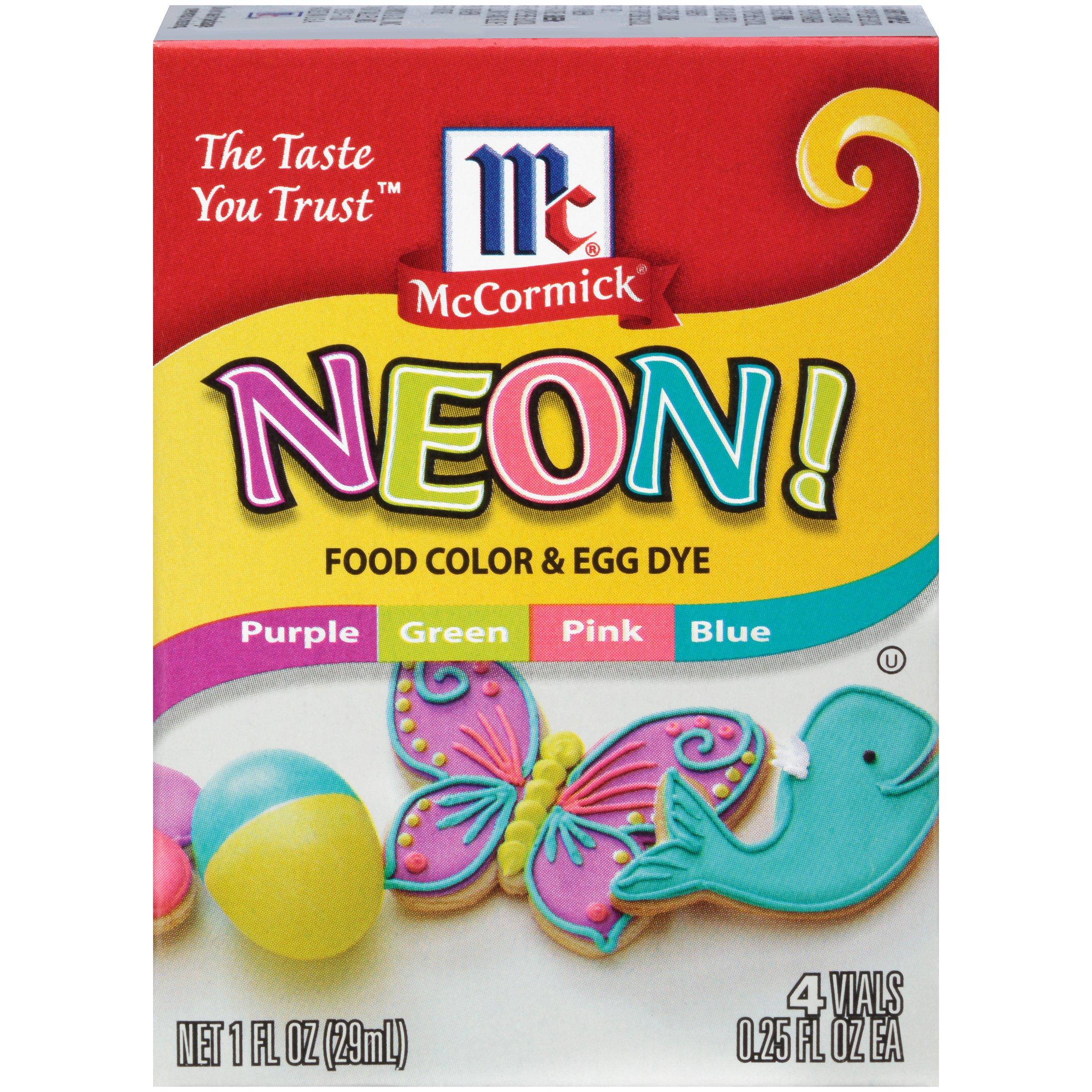 McCormick Food Colors & Egg Dye, 4 Neon Colors, 0.25 fl oz