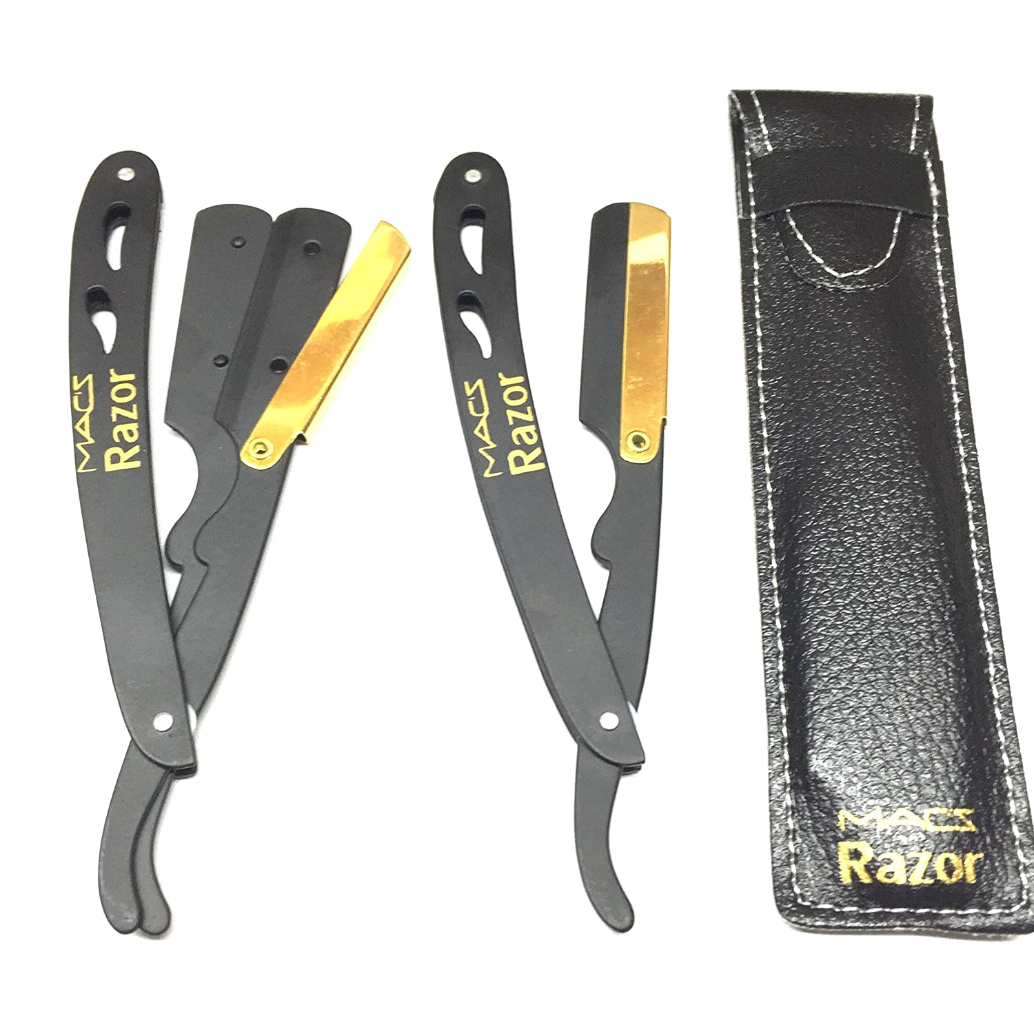 BLACK & GOLD COMBINATION Stainless Steel Barber Exchangeale Blade Straight Edge Barber Shaving Razor with Easy To Replace The Blades -Macs-045B Macs Razor products