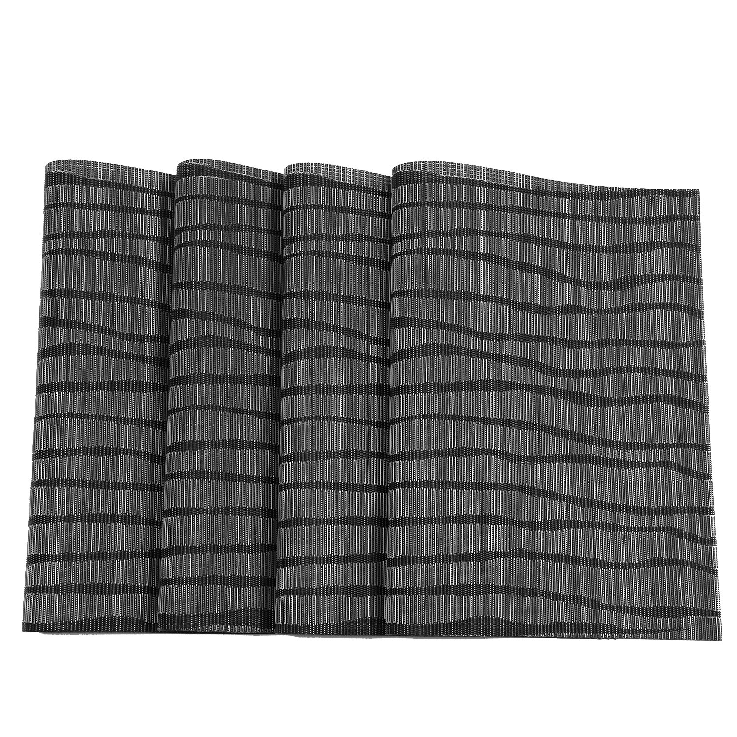 Topotdor Placemats set of 6 PVC Non-slip Insulation Stain-resistant vertical stripes Placemats for Home, Kitchen,Office and Outdoor (Set of 6, Black) by Topotdor (Image #5)