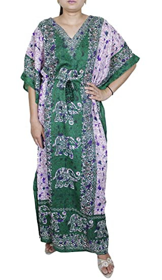 3d3a8bb9745f8 Image Unavailable. Image not available for. Color  Womens Swimwear  Beachwear Bikini Beach Wear Cover up Kaftan Summer Shirt Dress Large Green