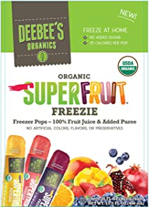 DeeBee's 100% Organics Super Fruit Freezie Frozen Juice Bars - Grape, Strawberry and Tropical Fruit Popsicles - Nut, Gluten and Dairy-Free, No Added Sugars - Vegan,Kosher and Non-GMO 30 Pack (30-Pack)