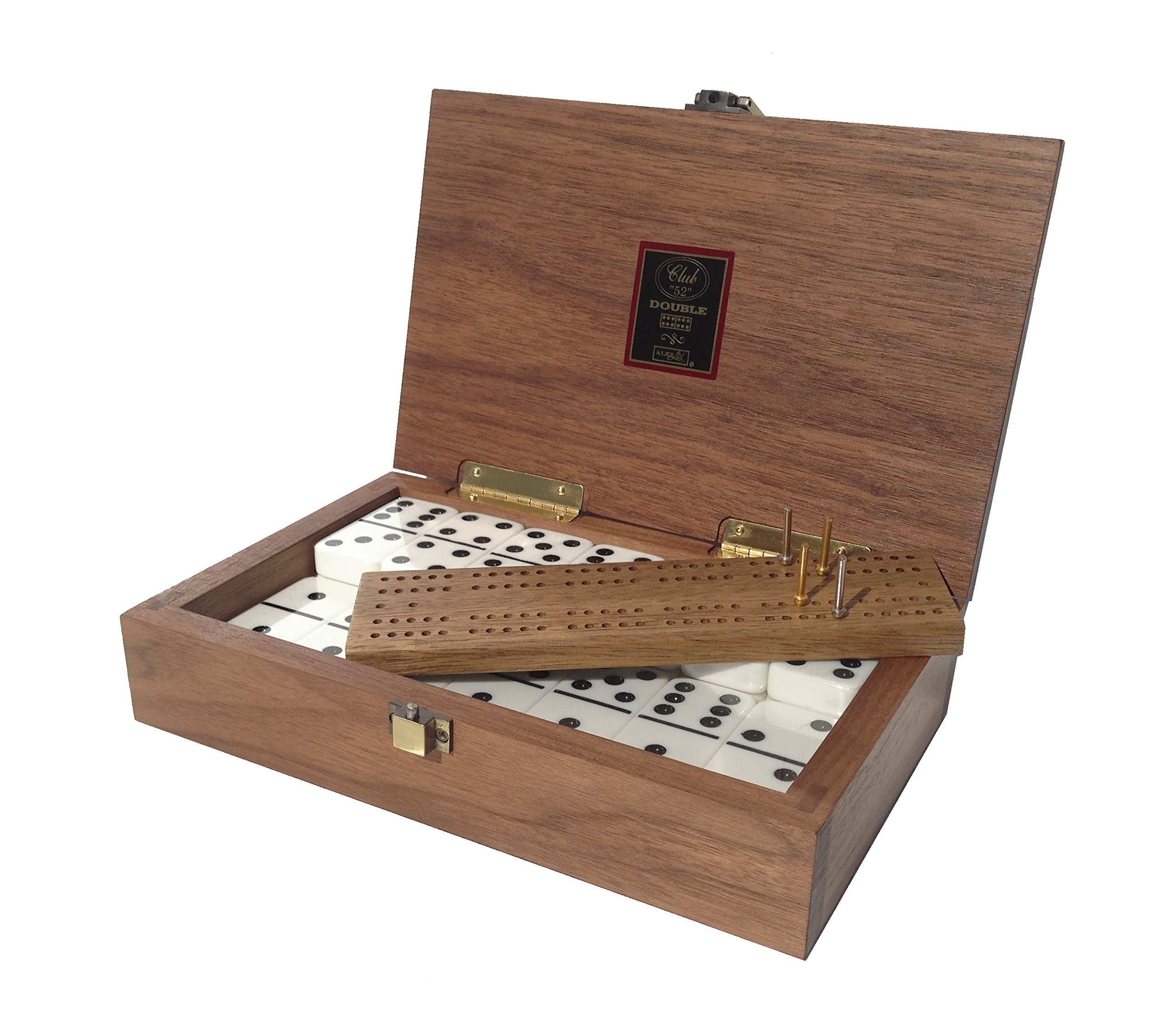 ''Club 52'' Luxury Domino Set with Black Walnut Case - Professional Tournament Domino Set - 28 Indestructible Double-Six Dominoes