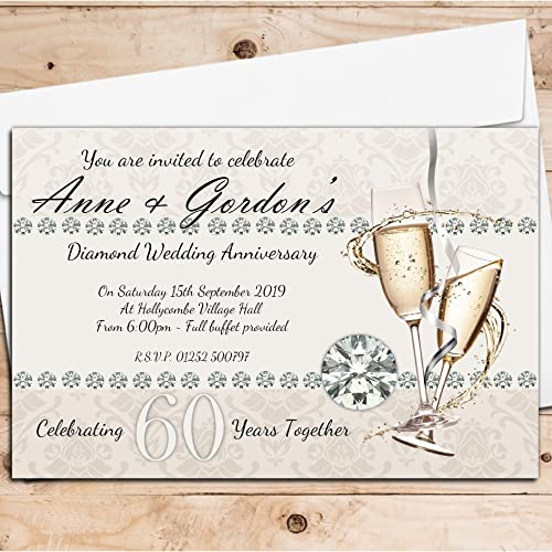 10 Personalised 60th Diamond Wedding Anniversary Invitations Invites N18