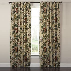"WAVERLY Curtains for Bedroom - Laurel Springs 100"" x 84"" Decorative Double Panel Rod Pocket Window Treatment Privacy Curtain Pair for Living Room, Parchment"