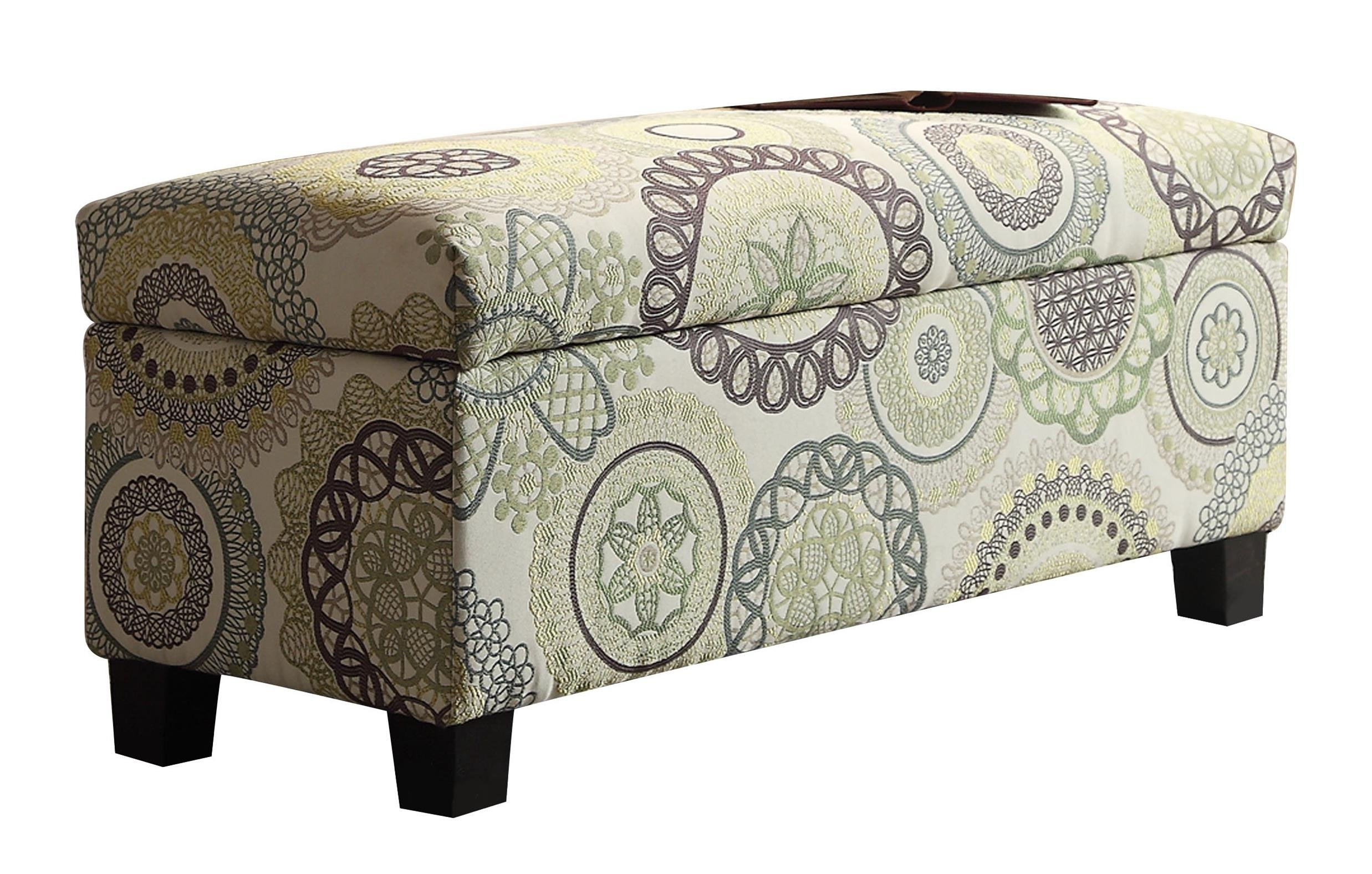 Homelegance 471FA-1S Lift Top Storage Bench, Floral Medallions Fabric