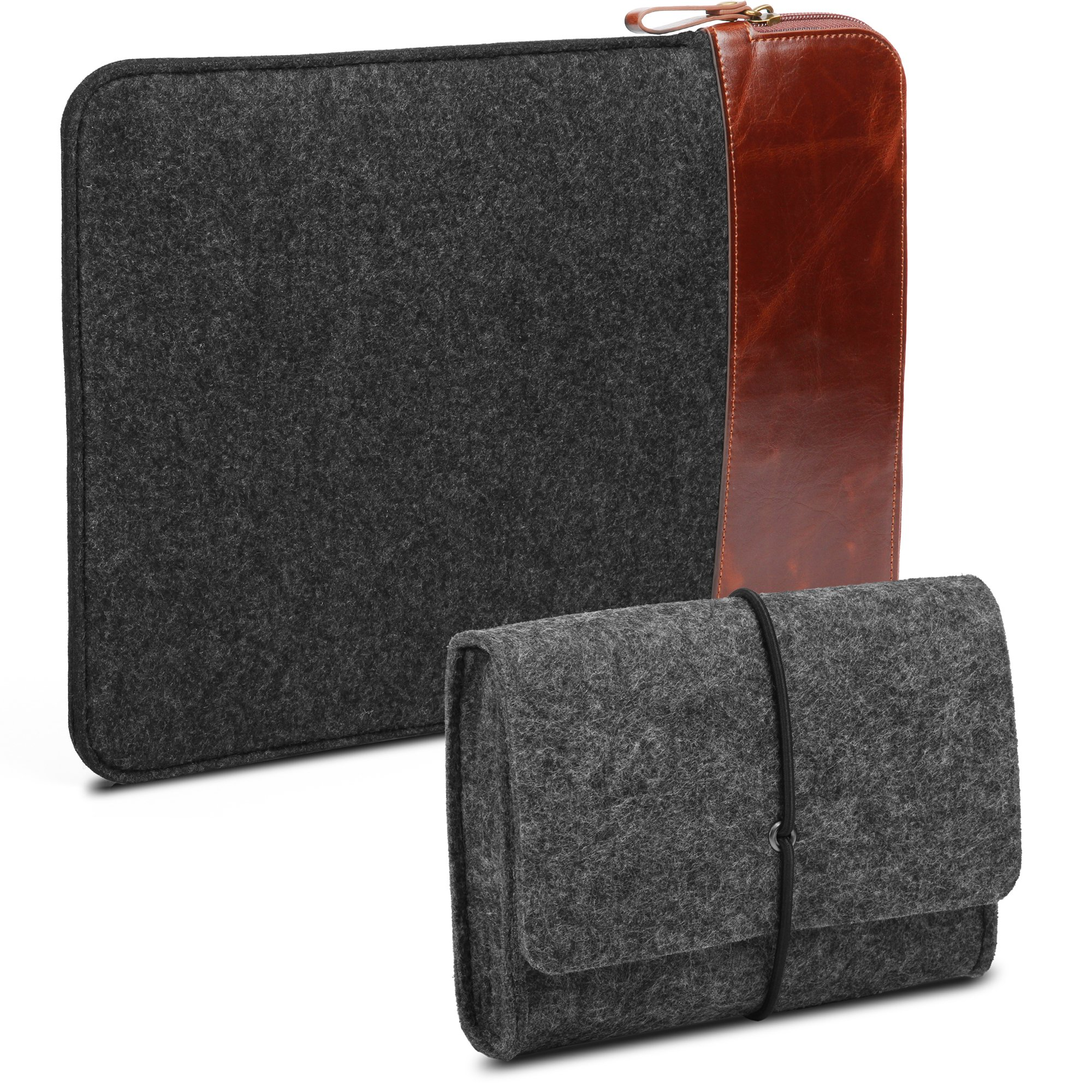 GMYLE 2 in 1 Bundle Felt Storage Pouch Bag & Soft Felt Fabric/Leather Canvas Protective Laptop Tablet Sleeve Case Cover for MacBook Air,MacBook Retina Pro,Old MacBook Pro 13 inch - Charcoal Gray Set