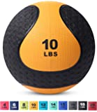 Medicine Exercise Ball with Dual Texture for Superior Grip by Day 1 Fitness - 10, 4-20 Pounds - Fitness Balls for Plyometrics, Workouts - Improves Balance, Flexibility, Coordination