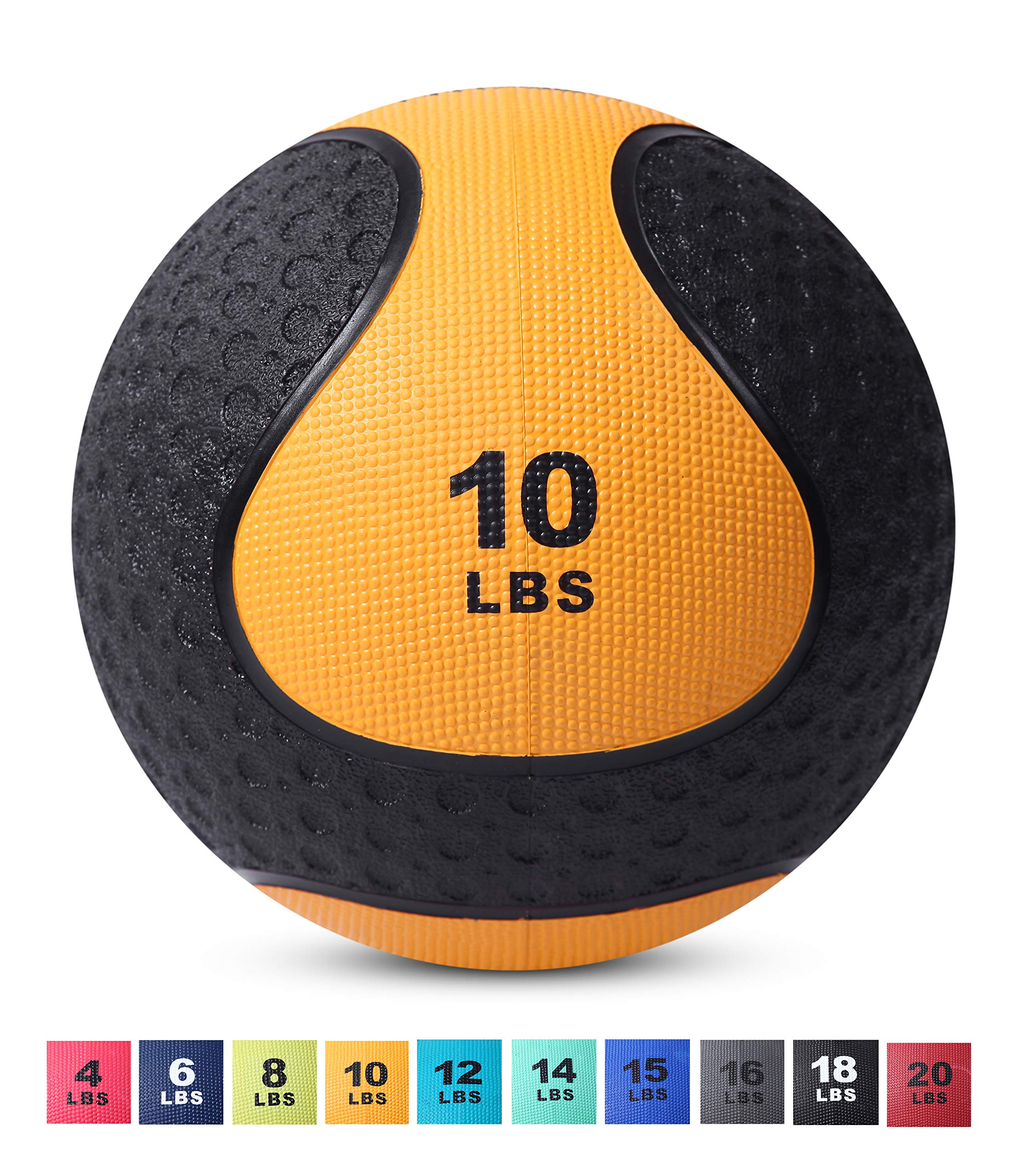 Day 1 Fitness Medicine Exercise Ball with Dual Texture for Superior Grip 10 Pounds - Fitness Balls for Plyometrics, Workouts - Improves Balance, Flexibility, Coordination