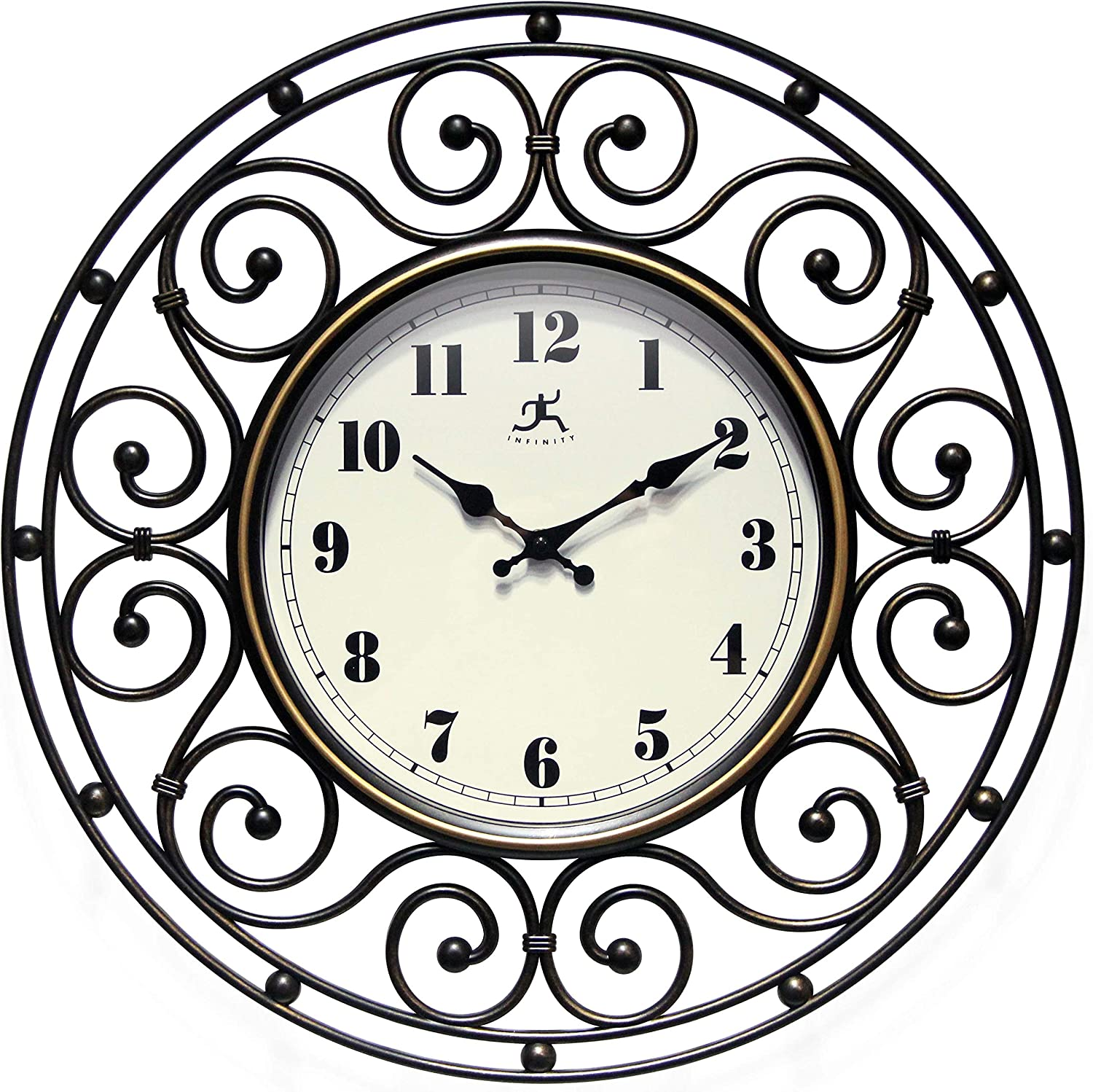 Provinciale 18 inch Decorative Wrought Iron Bronze Wall Clock for Living Room, Bathroom, Bedroom Home Decor Battery Operated