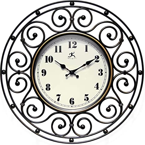 Provinciale 18 Inch Decorative Wrought Iron Bronze Wall Clock For Living Room Bathroom Bedroom Home Decor Battery Operated Kitchen Dining