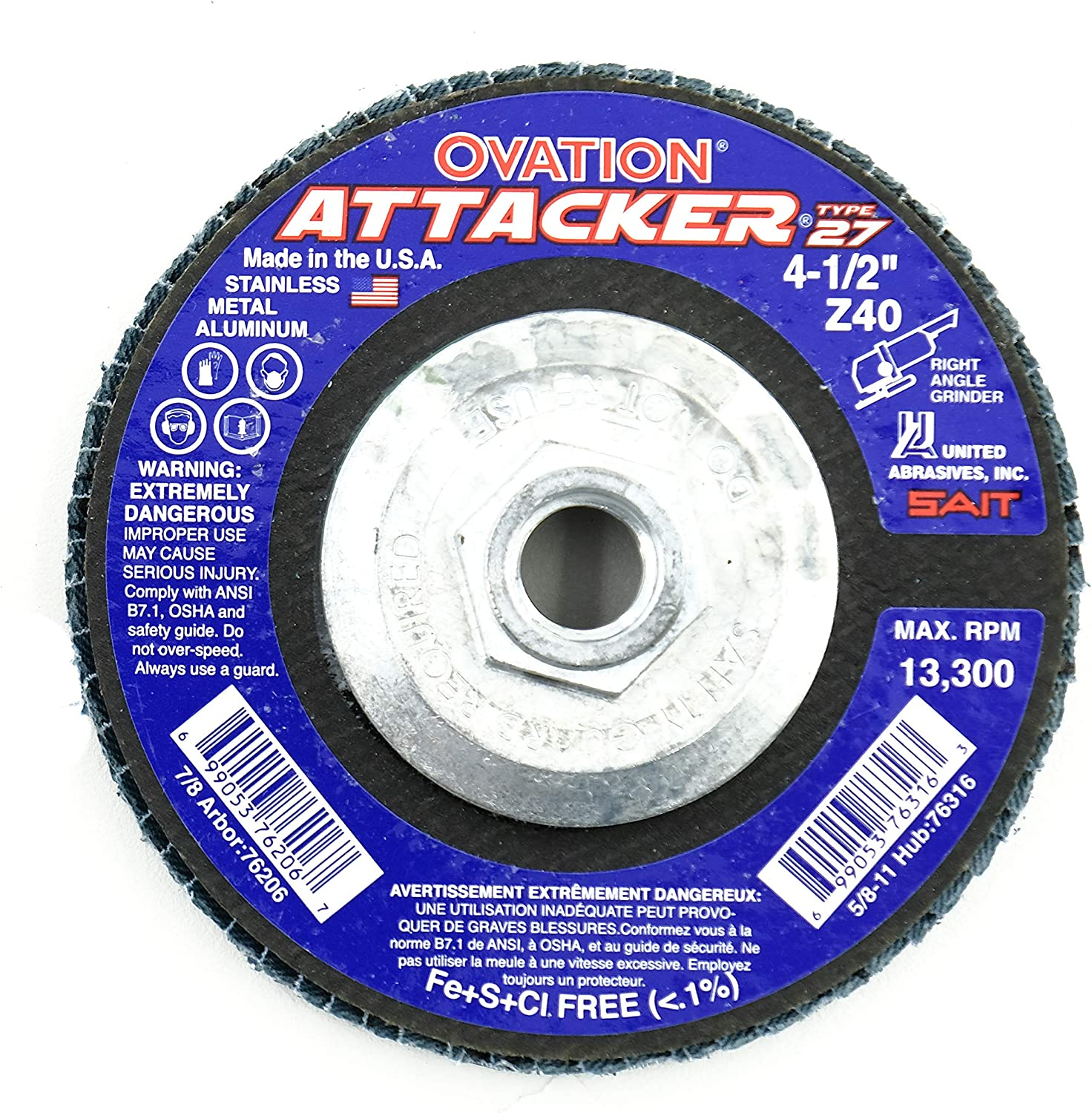 United Abrasives-SAIT 76206 Ovation Attacker Flap Disc, 4-1/2-Inch x 7/8-Inch 40 Grit, 10-Pack 91ZPVcaLAWLSL1500_