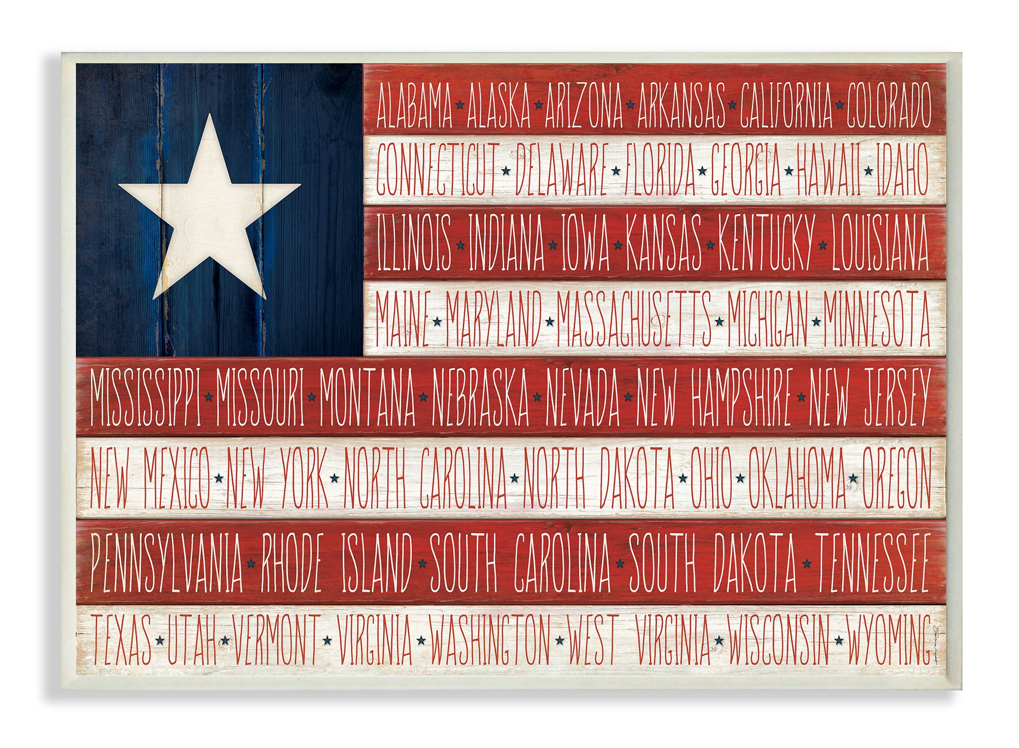 Stupell Home Décor American Flag with States Wall Plaque Art, 10 x 0.5 x 15, Proudly Made in USA