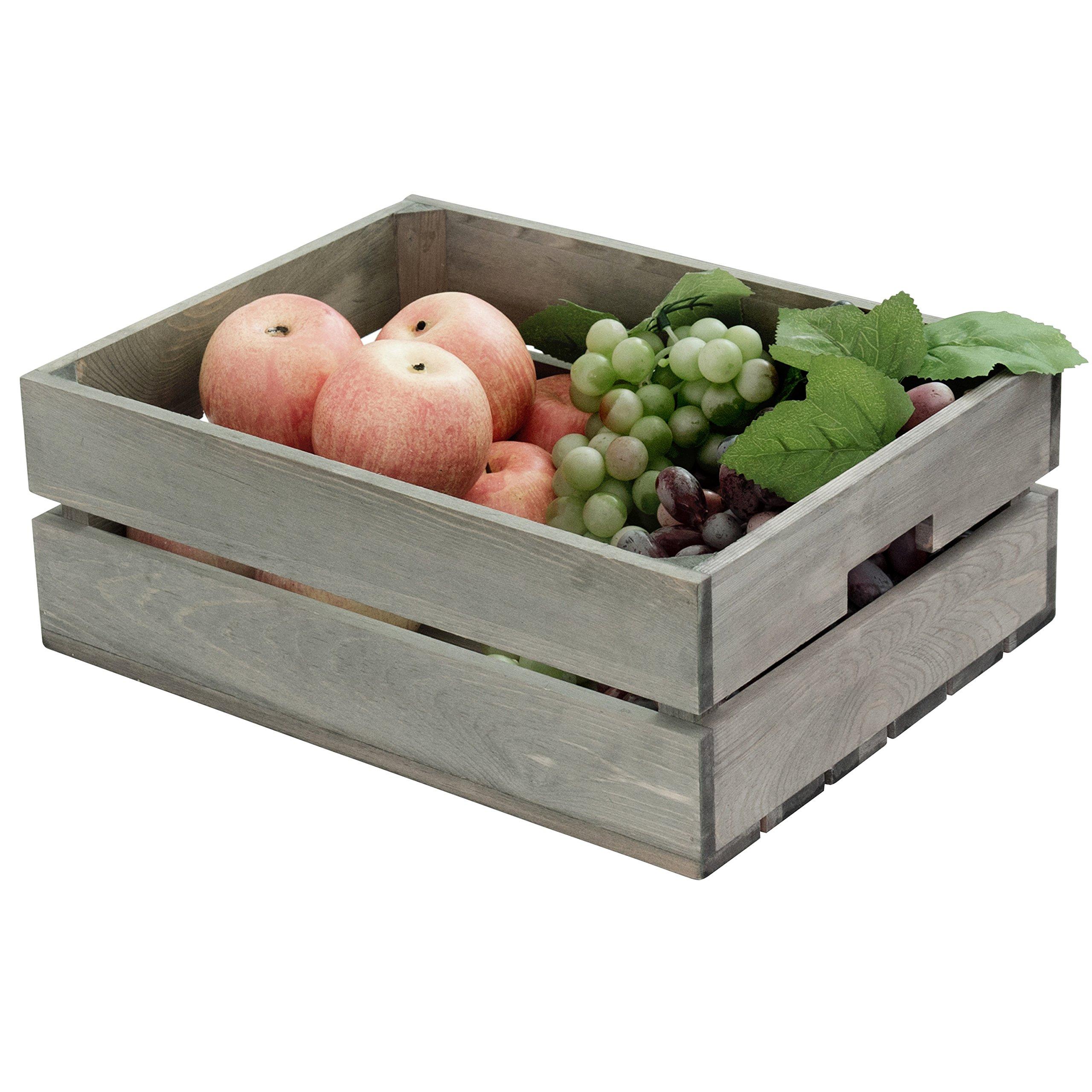 Barnwood Gray Wood Storage Crate, Decorative Double Handle Open Top Organizer Bin