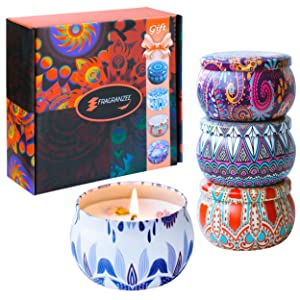 Large Size Scented Candles Gifts Sets for Women-Spring, Lavender, Jasmine and Vanilla, 4.4Oz Soy Wax Travel Tin Candle Fragrance Gift for Birthday Christmas Mother's Day Yoga Aromatherapy Candle Set