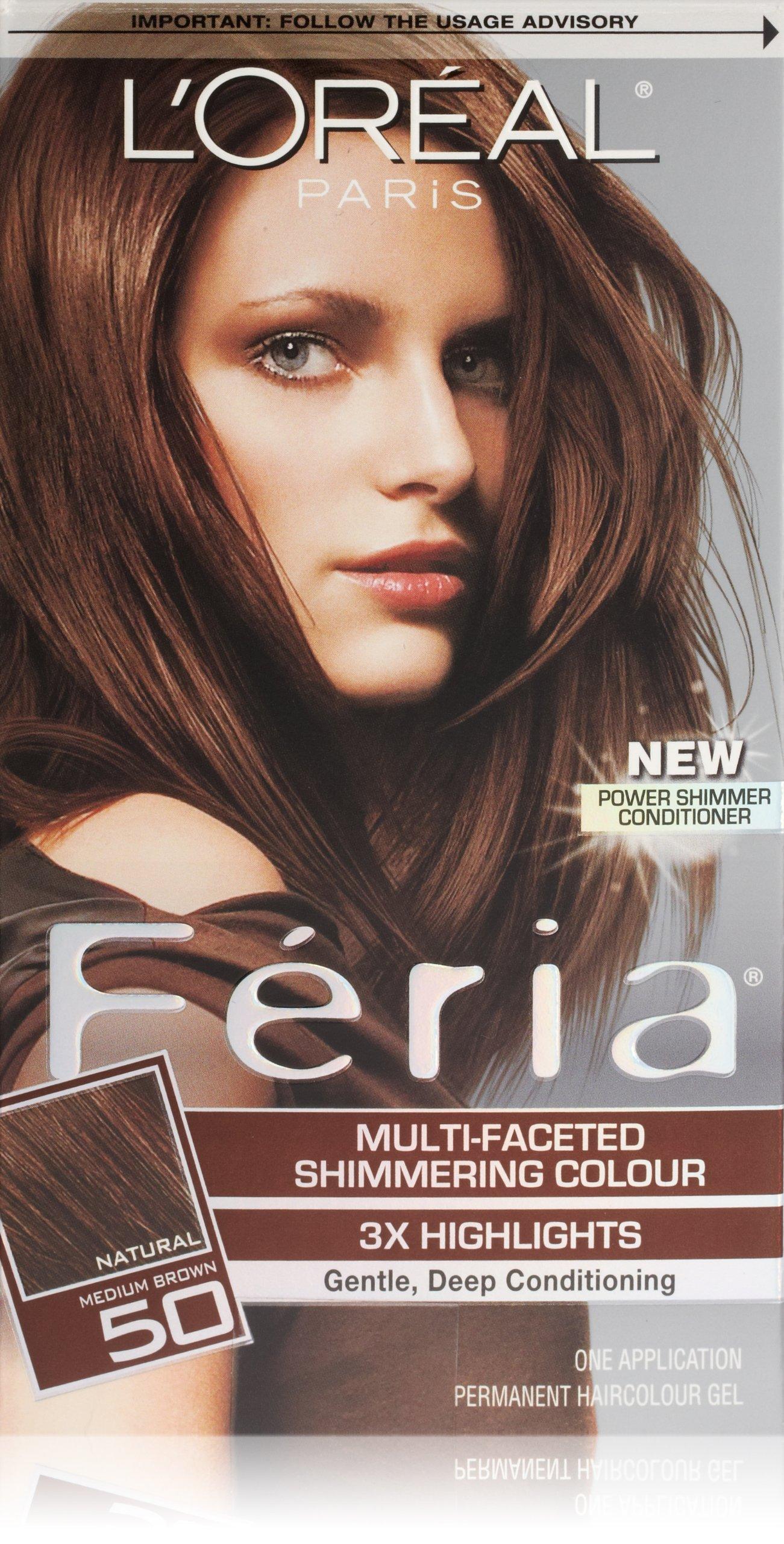 L'Oréal Paris Feria Permanent Hair Color, 50 Havana Brown (Medium Brown)