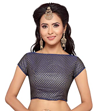 1f5598dfb9d5b6 Studio Shringaar Women's Benaras Brocade and Georgette Stitched Saree Blouse  (Navy Blue, ...