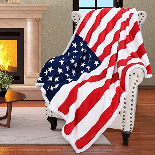 "50"" x 60"" 100% polyester USA American Flag Armchair Throw ..."
