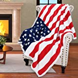 Patriotic US Flag Blanket,American National Flag Throws,Sherpa Fleece Plush Super Soft Cozy Warm Reversible Blanket for Couch Bed,4th of July Citizenship Veteran Gift,50X60 inches
