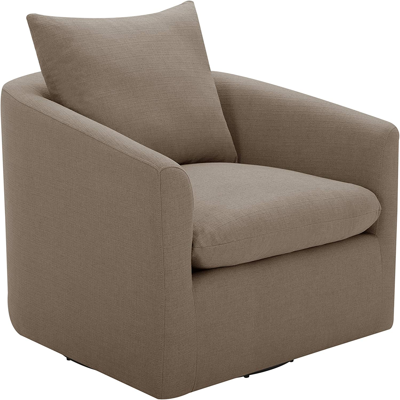 "Amazon Brand – Stone & Beam Elisabet Upholstered Swivel Chair, 33.5""W, Slate"