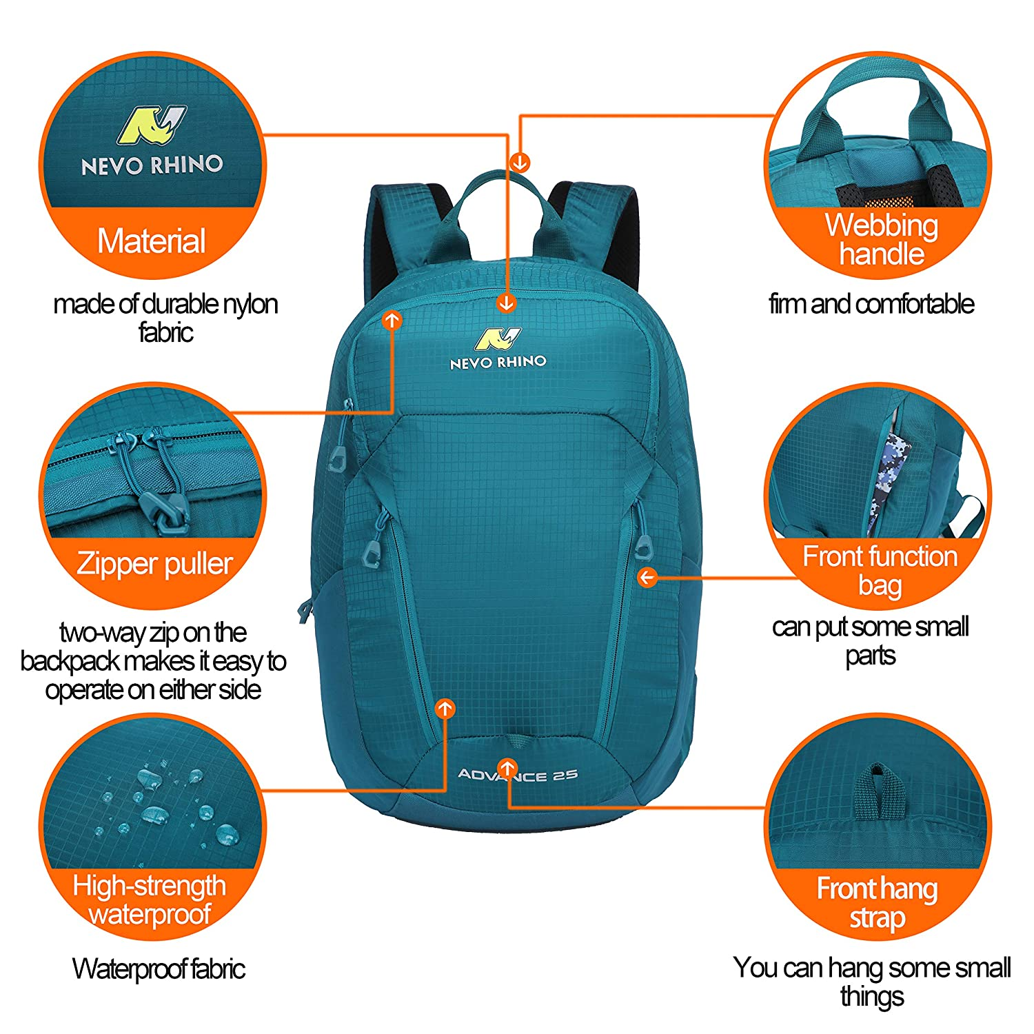 N NEVO RHINO 25L Hiking Backpack, Durable Nylon Outdoor Sports Ultralight Daypack with Internal Frame, Lightweight High-Performance Waterproof Backpack for Backpacking, Hiking, Camping, Traveling