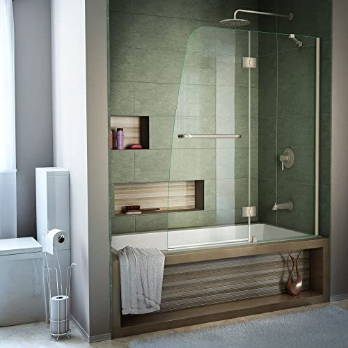 DreamLine Aqua 48 in. W x 58 in. H Frameless Hinged Tub Door in Brushed Nickel, SHDR-3148586-04