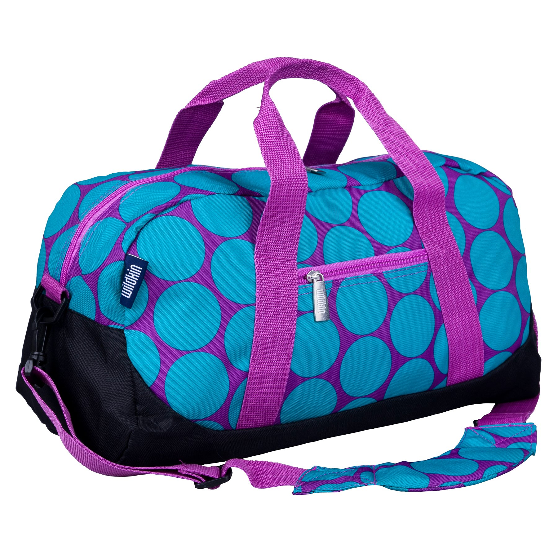 Wildkin Overnighter Duffel Bag, Features Moisture-Resistant Lining and Padded Shoulder Strap, Perfect for Sleepovers, Sports Practice, and Travel – Big Dots Aqua
