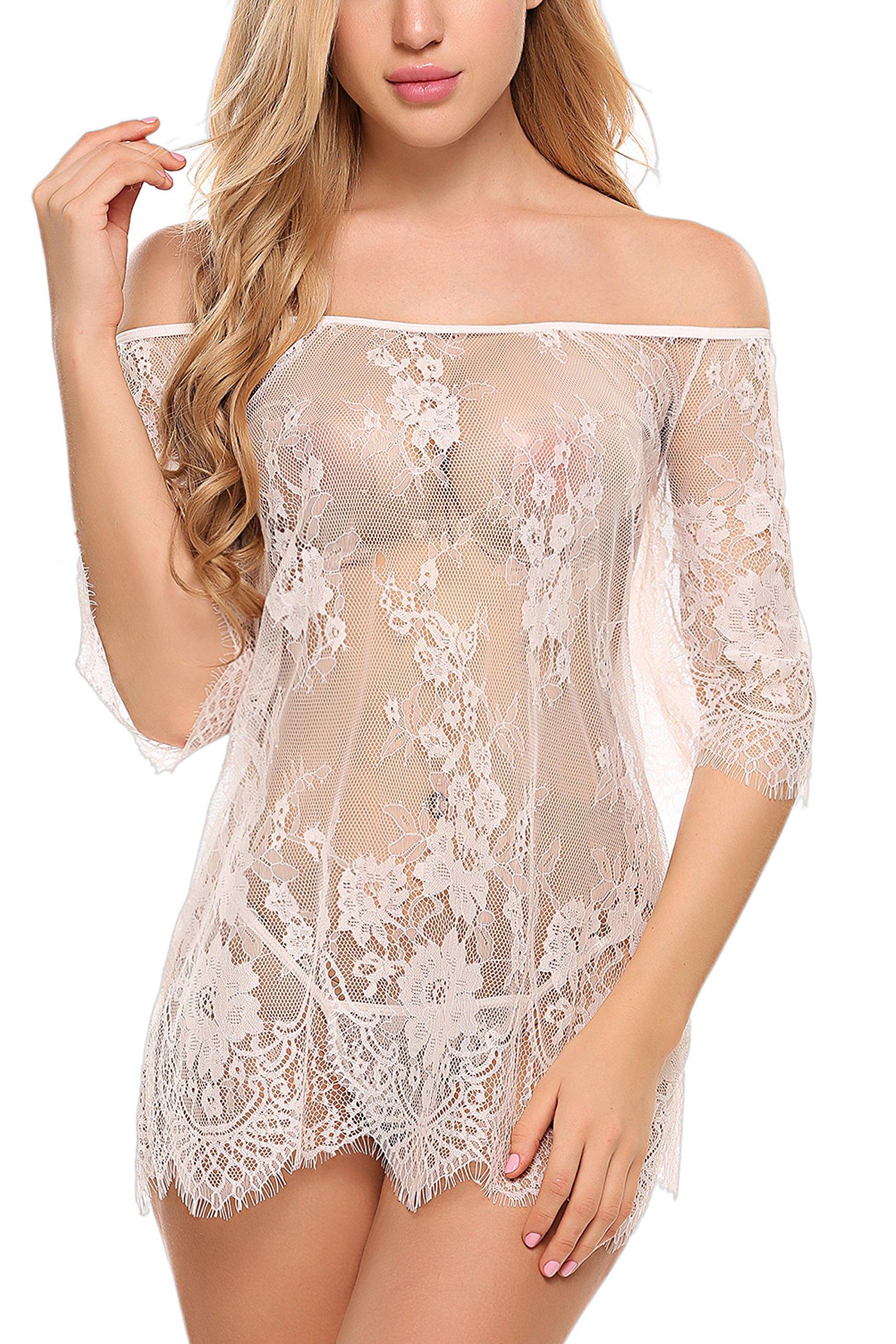Avidlove Women Chemises Lace Smock Sexy Lingerie Mini Babydoll Mesh Nightgown White Small