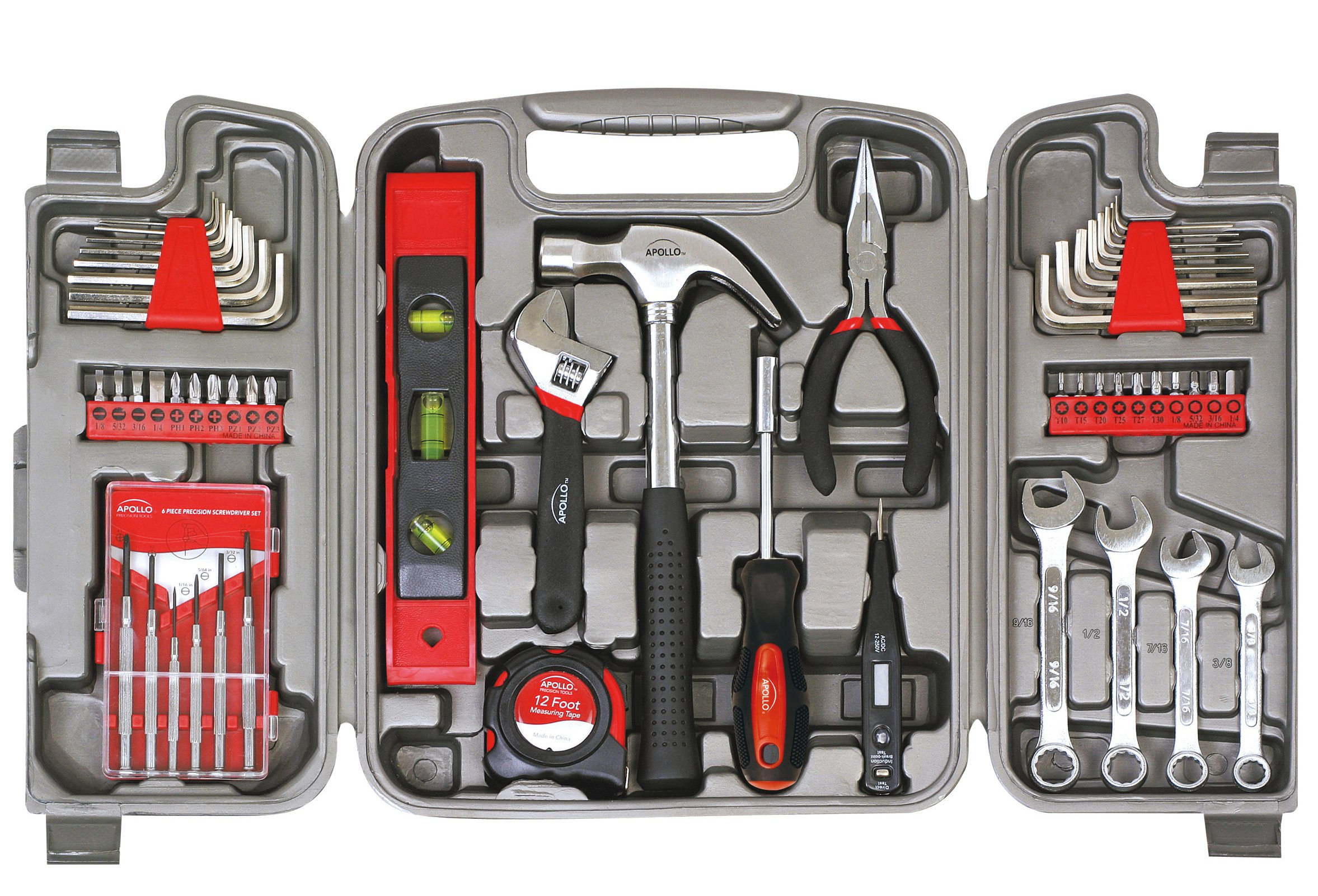 Apollo Tools DT9408 53 Piece Household Tool Set with Wrenches, Precision Screwdriver Set and Most Reached for Hand Tools in Storage Case by Apollo Tools