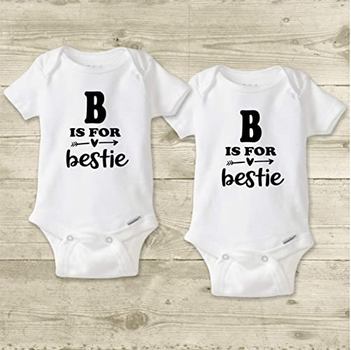 032d6eb9fb83 Amazon.com: Twin Girl Onesies ®, Twin Baby Shirts, Matching Cousin Shirts  for Girls, Best Friend Baby Clothes, B is For Bestie (Includes 2 Bodysuits  or ...