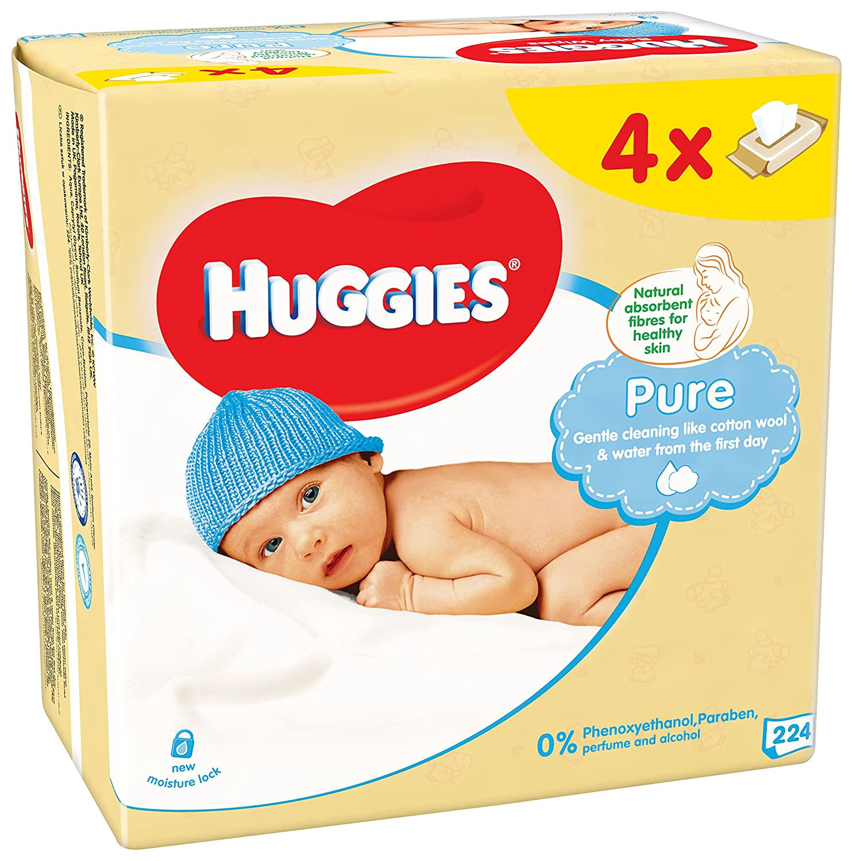 Huggies Pure Toallitas para Bebé - Paquetes de 4 x 56 toallitas - Total: 224 toallitas: Amazon.es: Amazon Pantry