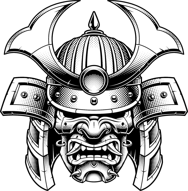 Beautiful artistic japanese kabuki mask cartoon samurai helmet vinyl sticker 4 tall amazon com
