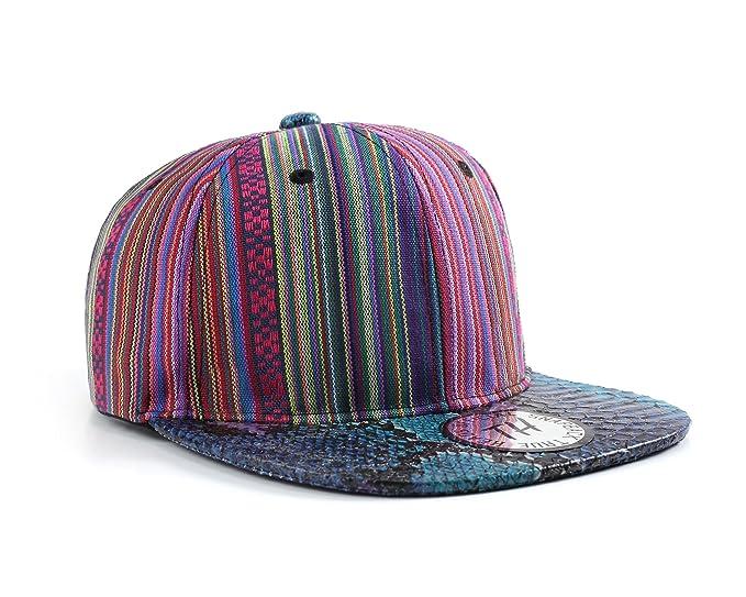 Aztec Multi Colour Pattern Snakeskin Style Flat Peak Snapback Baseball Cap  (Blue Peak) e1ae0af83a9