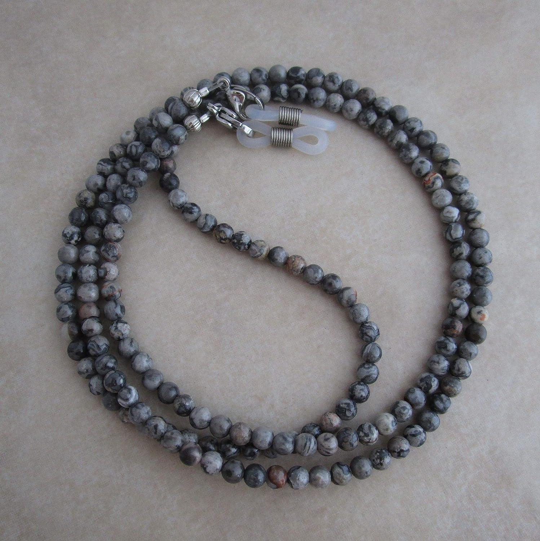 silver leaf jasper eyeglass chain for reading glasses