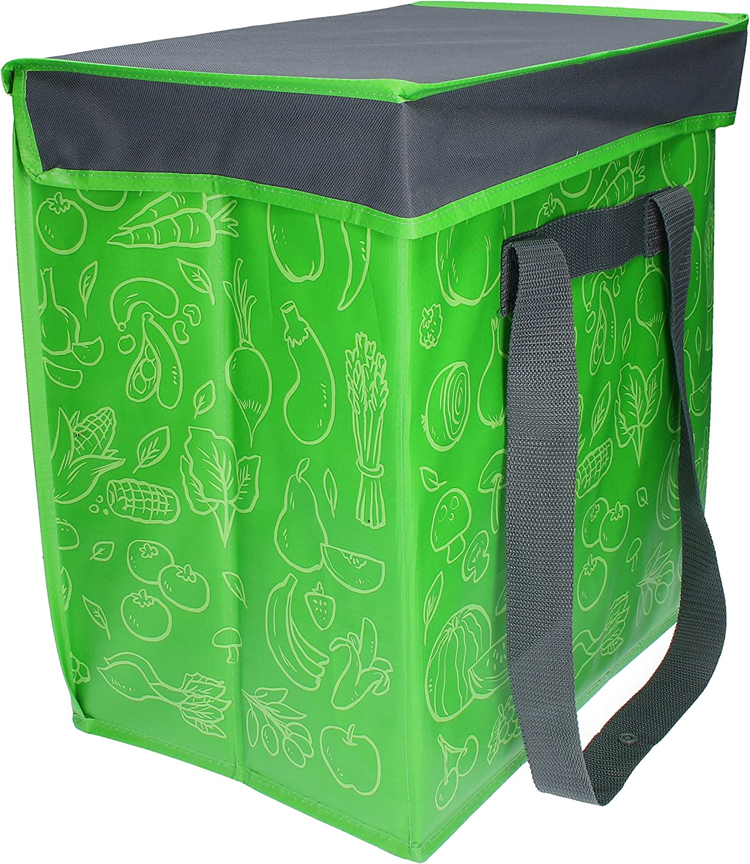 Al nevera portátil y plegable Fresh caja plegable para alimentos Shopper verde en diseño moderno bolsillo plegable sin BPA, plástico, verde y gris, 40 litros