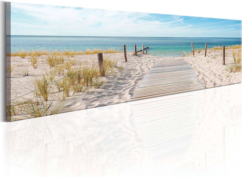 murando Cuadro en Lienzo Playa 172x45 cm 1 Parte impresión en Material Tejido no Tejido Cuadro de Pared impresión artística fotografía gráfica decoración Naturaleza Paisaje Mar c-A-0108-b-a