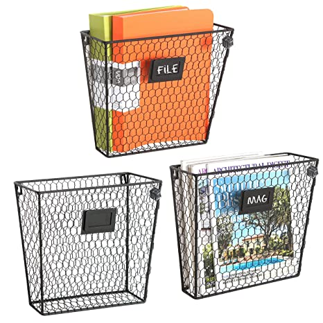 Set Of 3 Wall Mounted Rustic Black Metal Wire Mail Sorter/Magazine Rack W/Erasable Chalkboard Labels by My Gift