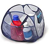 Smart Design Deluxe Mesh Pop Up Square Laundry Basket Hamper w/ Side Pockets & Handles - Durable Fabric Collapsible Design -