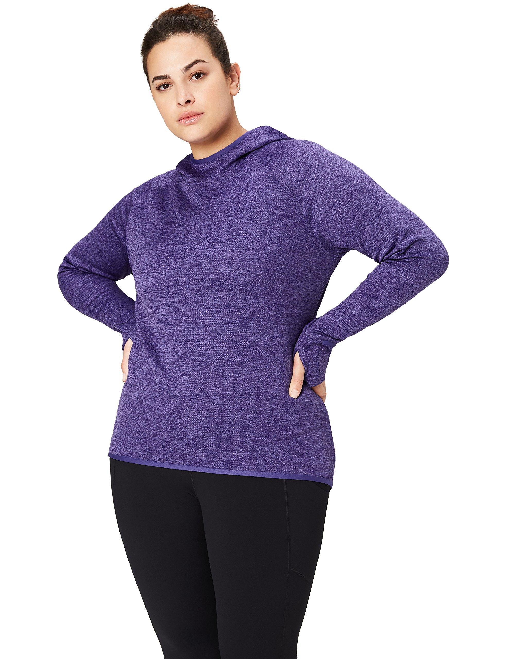 Core 10 Women's Plus Size Be Warm Thermal Fitted Run Hoodie (XS-XL, Plus Size 1X-3X), Grape Heather, 1X (14W-16W)