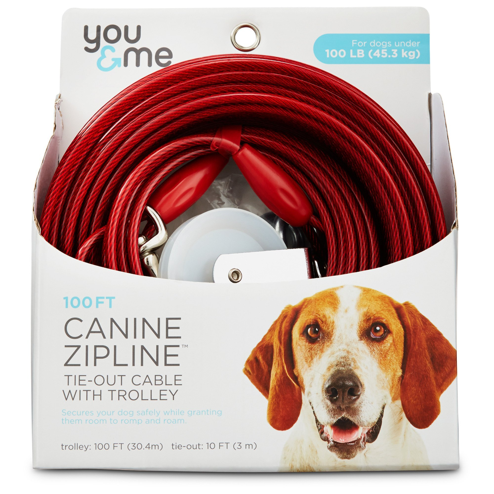 You & Me Red Large Canine Zipline Dog Tie-Out Cable with Trolley, 100' by You&Me