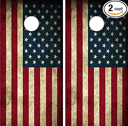 Cornhole Wrap Decal American Flag Weathered Wood Laminated Includes 2