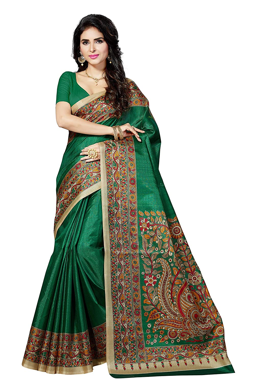 Green Color Women's Art Silk Saree with Blouse Piece