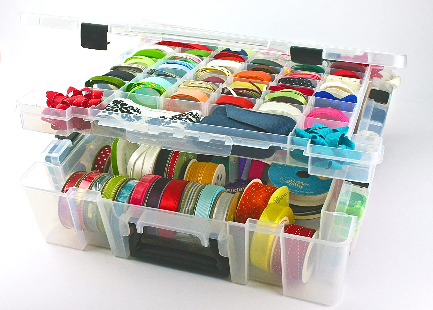 KABOODLE PLUS, CLEAR STORAGE BOX REMOVABLE DIVIDERS, DIVIDED TRAY IN LID,  DEEP INTERNAL COMPARTMENT, ARTS CRAFT STORAGE, SEWING BOX: Amazon.co.uk:  Kitchen U0026 ...