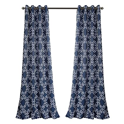 MYSKY HOME Print Curtains for Living Room Moroccan Tiles Floral Printed Thermal Insulated Blackout Drapes for