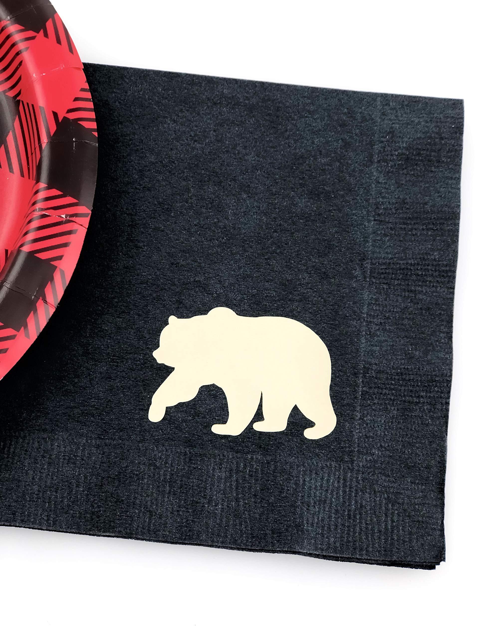 Buffalo Plaid Bear Party Set - 16 Plates Napkins Lumberjack Birthday Baby Shower