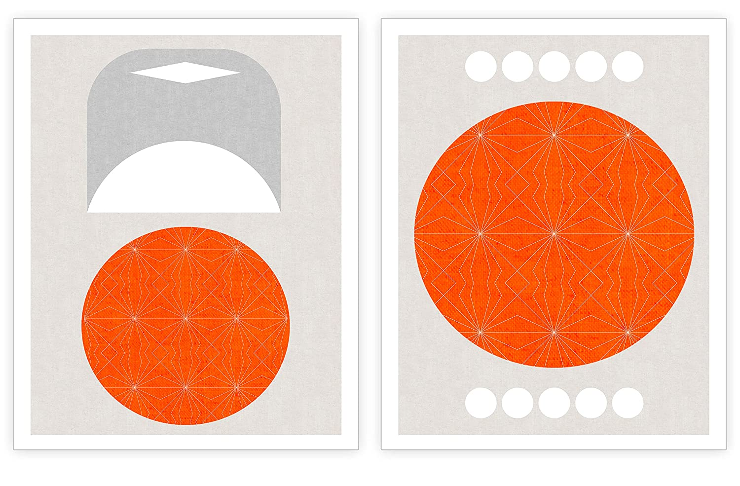 Abstract Shapes Wall Art - Orange Geometric Wall Decor - Modern Art - Rustic Geometry Decorations for Home Office Living Room - Minimalist Accent Artwork- Set of 2 Prints - 8x10 UNFRAMED