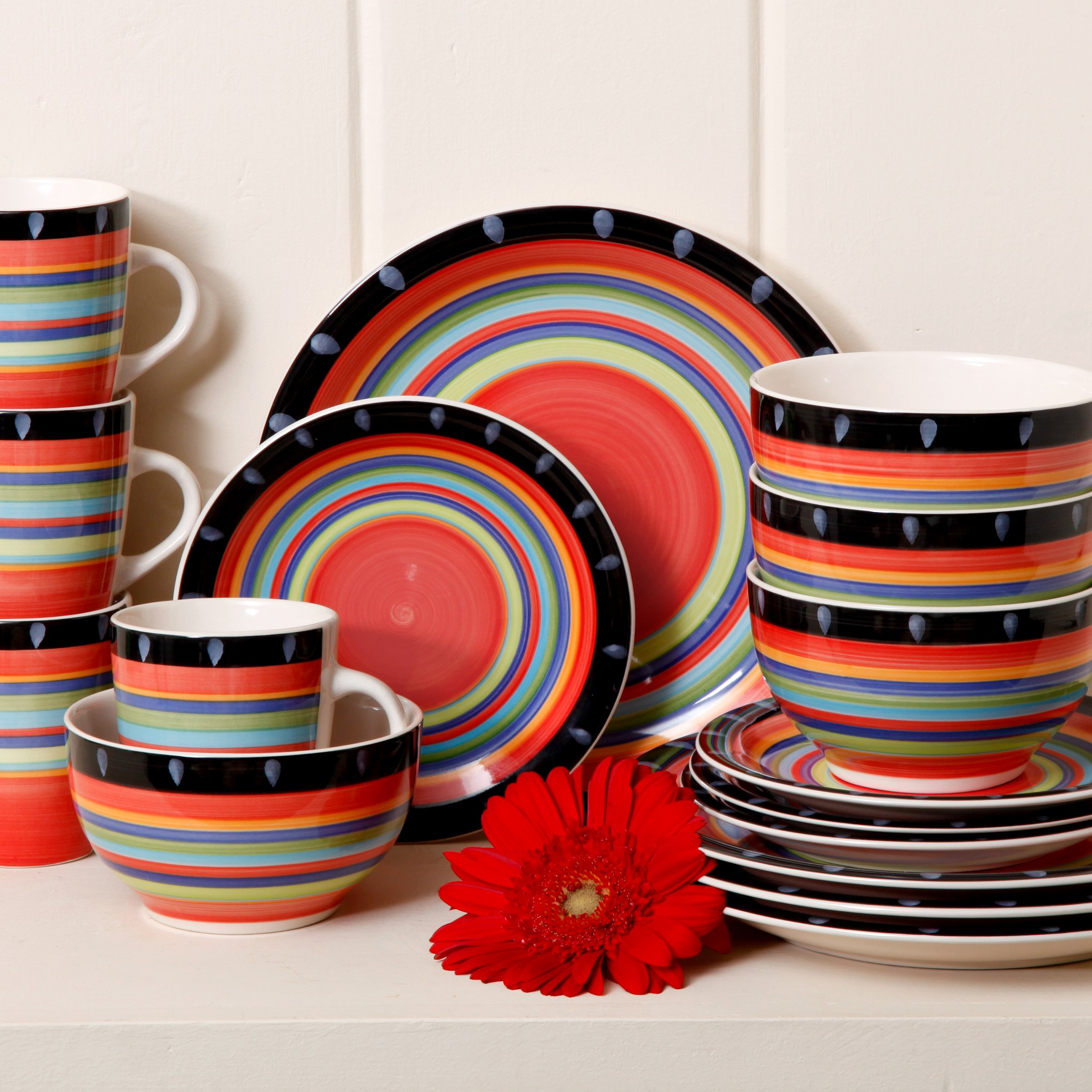 DETAILS. Dinnerware Set Red Dishes Dinner Stoneware ... : red stoneware dinnerware sets - pezcame.com