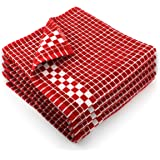 Fecido Classic Dark Kitchen Dish Towels with Hanging Loop - Heavy Duty Absorbent Dish Clothes - European Made 100% Cotton Tea