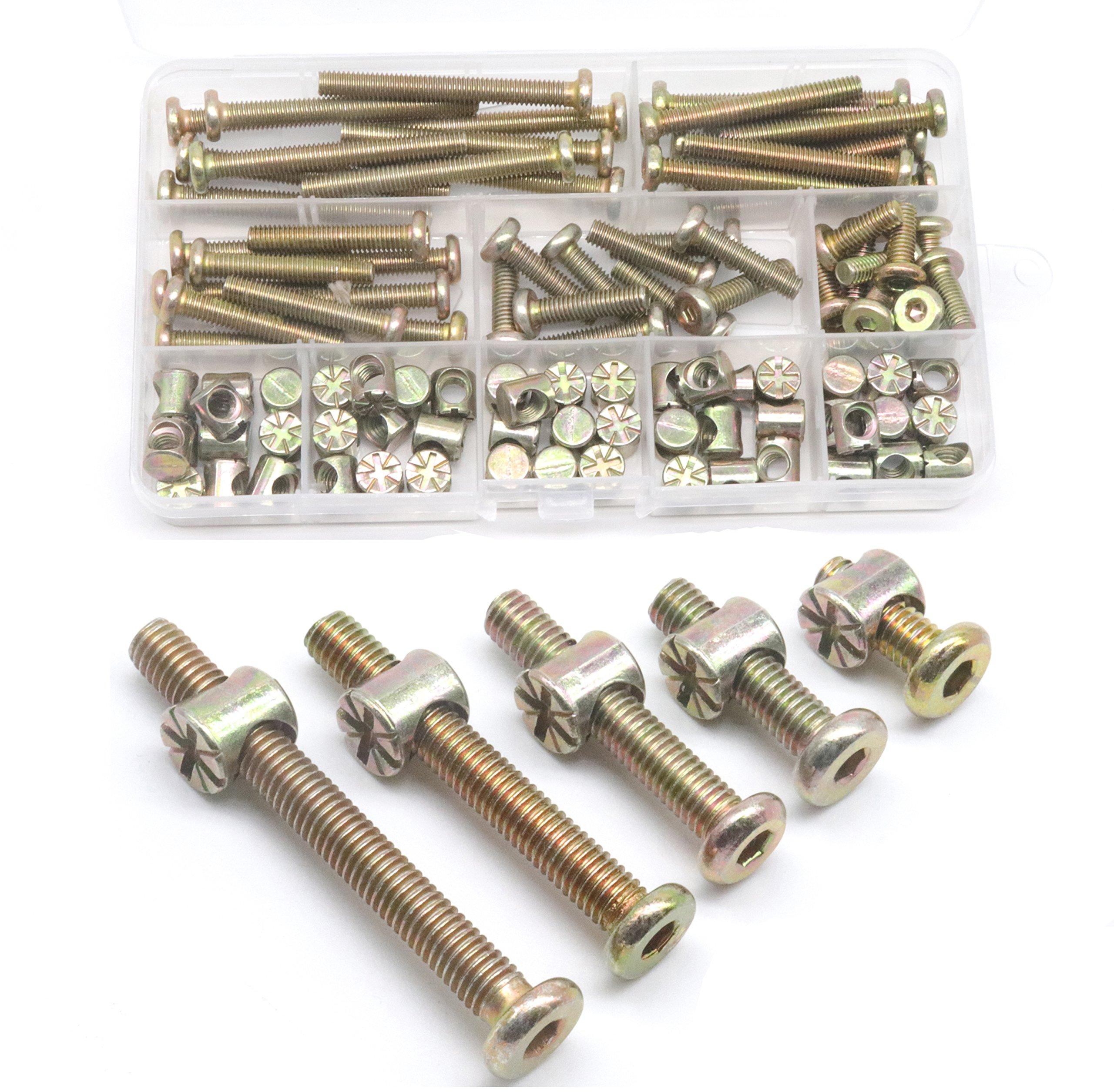 Baby Bed Screws Bolts Kit, cSeao M6 Hex Drive Socket Cap Bolts Barrel Nuts Assortment Kit, M6 x 15mm/25mm/35mm/45mm/55mm for Crib Cot Chairs, 100pcs Zinc Plated