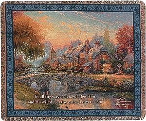 Manual Thomas Kinkade 50 x 60-Inch Tapestry Throw with Proverb, Cobblestone Bridge
